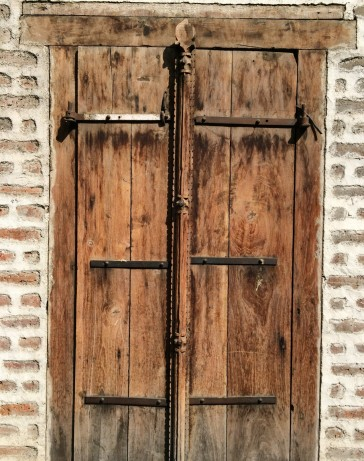 thin wooden door